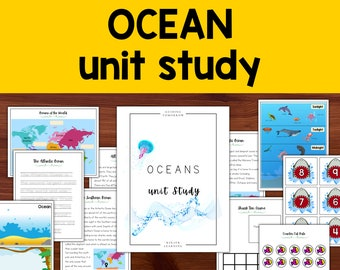 Oceans of the world Unit Study, Ocean zones poster, Homeschool Learning Curriculum for Preschool, Kindergarten, First and Second Grade