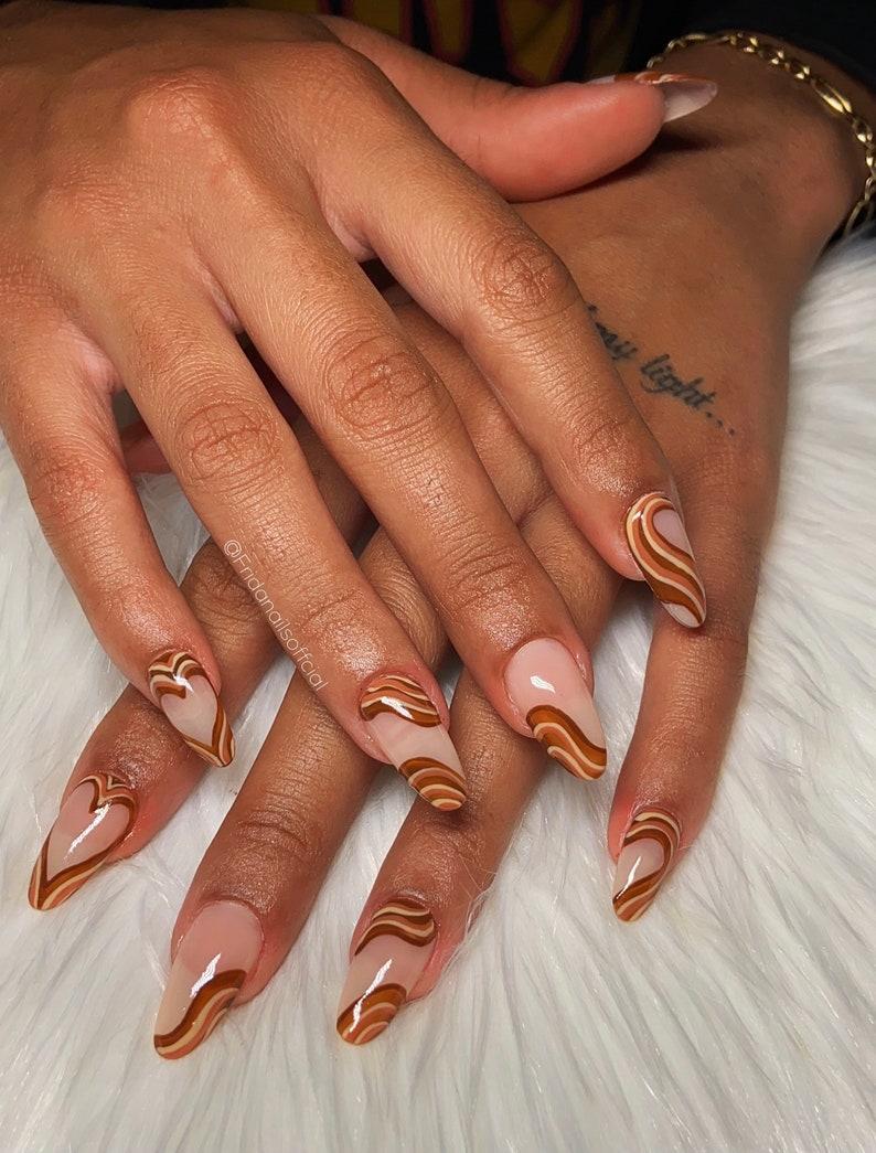 Brown Wavy Design. Abstract nail design . Press On Nails. image 0