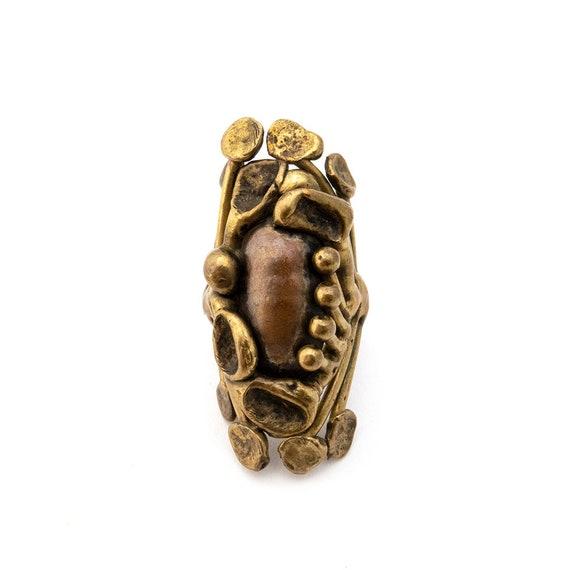 Striking Brutalist Brass Ring