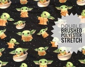 IN STOCK | Baby Yoda Star Wars Galaxys Edge | Double Brushed Polyester Stretch Knit Super Soft Fabric