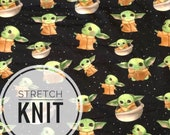 PRE ORDER Baby Yoda STRETCH Knit Star Wars Galaxys Edge Fabric 1 Yard 1/2 Yard Fat Quater