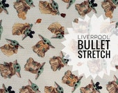 IN STOCK   Liverpool BULLET Stretch Knit   Baby Yoda Snacky Snacks Exclusive Fabric