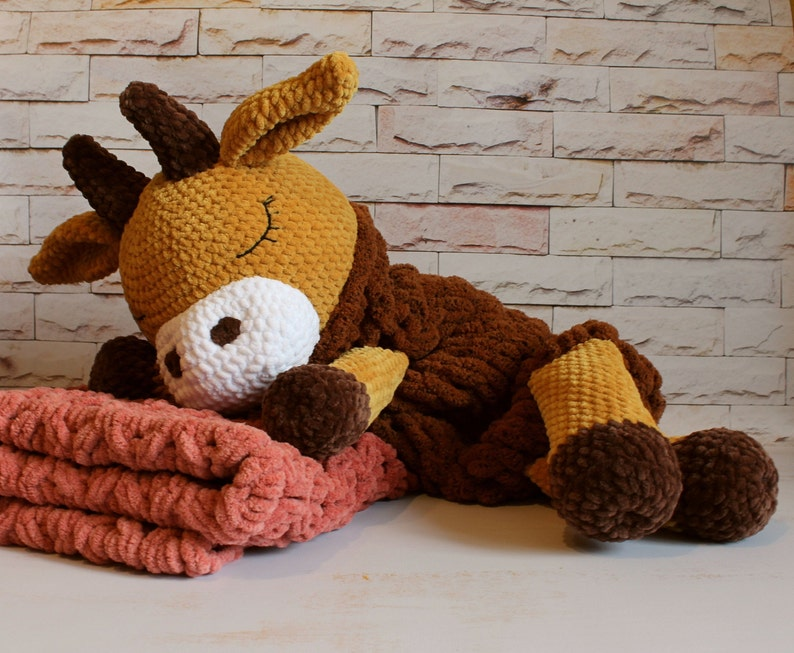 Large stuffed animal cow toy and chunky crochet blanket Bull baby lovey toy with plush baby comforter Toys for a 1 year old boy