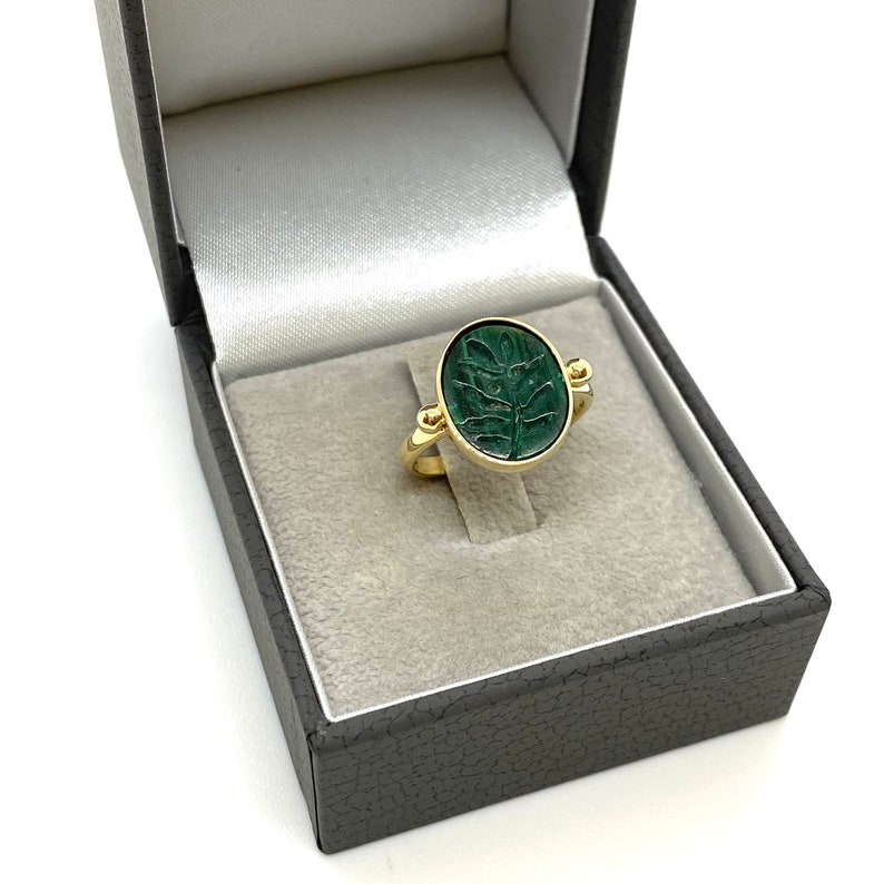 Unisex ring carved green malachite with an olive branch Malachite 14k yellow gold signet ring Anniversary fine gift. symbol of peace