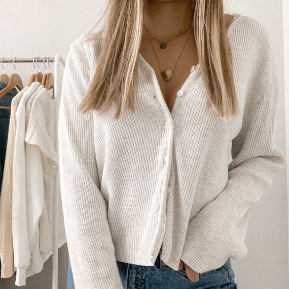 Vintage 90s Slouchy Ribbed Neutral Cardigan Sweate