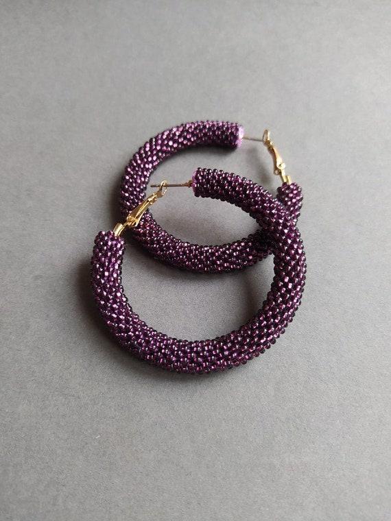 Purple beaded Hoop earrings, Purple seed bead earrings, Large hoops, Southwest beaded Hoop earrings, Trendy Beaded Hoop Earrings
