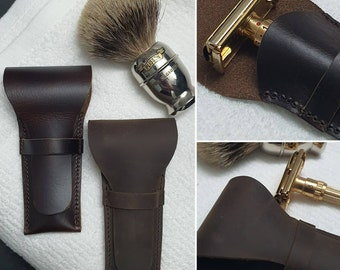 Luxury Leather Razor Cover, Available in Crazy Horse Leather and Dark Oil Full Grain Leather