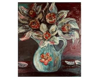 Daffodils, Flowers, Art, Oil Painting, Original Painting, Wall Painting, Impasto, Wild Daffodils Yellow Flowers Flower Art