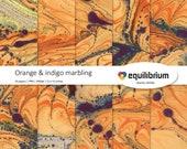 "ORANGE & INDIGO MARBLING digital papers | Digital scrapbooking paper | 12"" X 12"" | handmade"