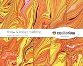"YELLOW & ORANGE MARBLING ripples digital papers | Digital scrapbooking paper | 12"" X 12"" | handmade"