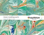 "GREEN MARBLING SWIRLS digital papers | Digital scrapbooking paper | 12"" X 12"" | handmade"