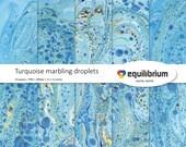 "TURQUOISE MARBLING droplets digital papers | Digital scrapbooking paper | 12"" X 12"" | handmade"