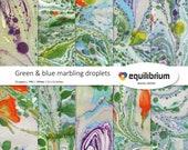 "GREEN & BLUE MARBLING digital papers | Digital scrapbooking paper | 12"" X 12"" | handmade"