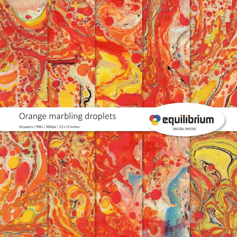 ORANGE MARBLING droplets digital papers  Digital scrapbooking image 0