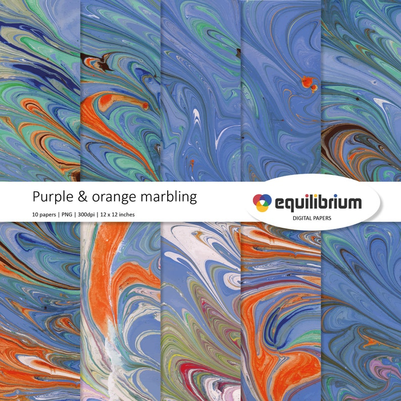 PURPLE & ORANGE MARBLING ripples digital papers  Digital image 0