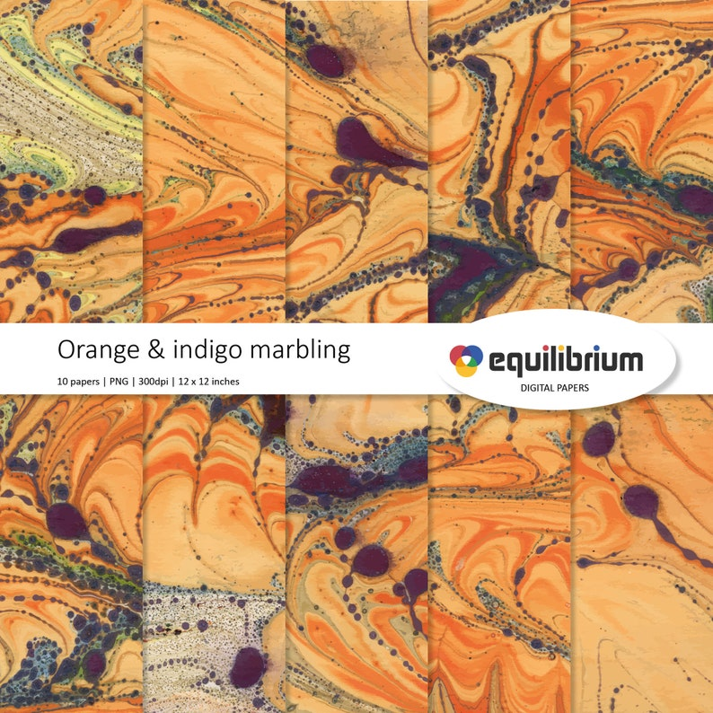 ORANGE & INDIGO MARBLING digital papers  Digital scrapbooking image 0