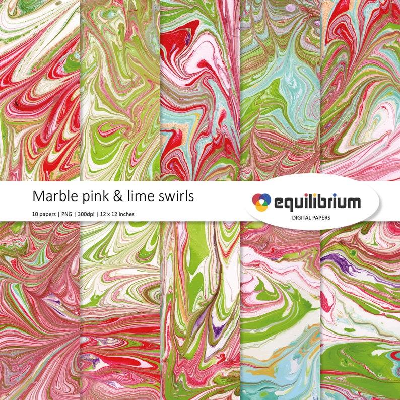PINK & LIME MARBLING swirls digital papers  Digital image 0