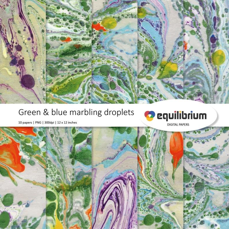 GREEN & BLUE MARBLING digital papers  Digital scrapbooking image 0