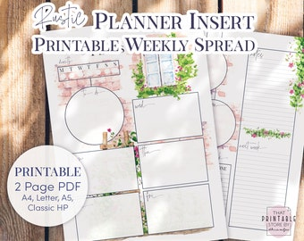 Undated Printable Weekly Planner Insert   Rustic Watercolor Weekly  A4, A5, Letter and Classic Happy Planner, PDF and PNG