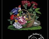 Antique Floral Basket in Bird