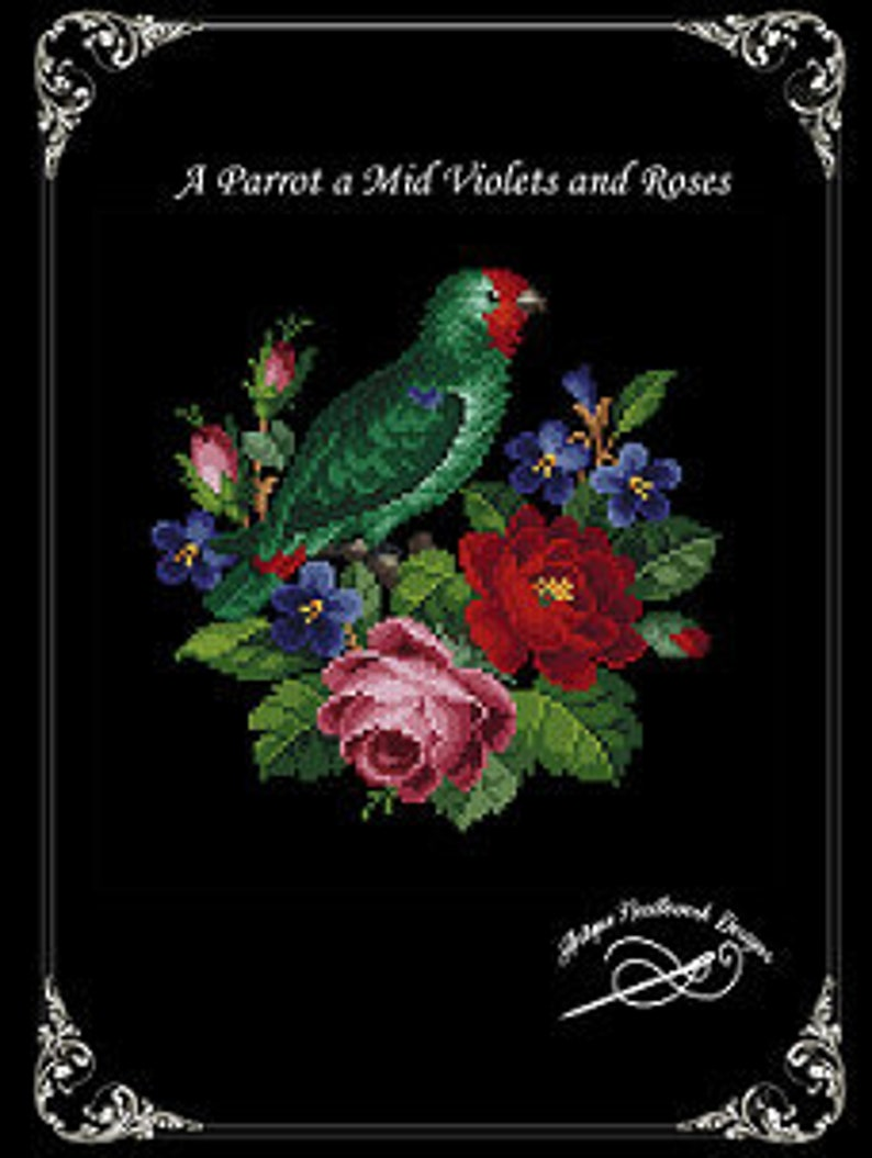 A Parrot a Mid Violets and Roses