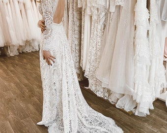 Bohemian Lace Wedding Dress  Open Back Bridal Gown  Boho Hippie Wedding Dress  Lace Dress
