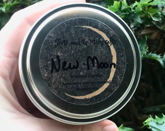 New Moon Scented Candle - notes of lavender, bergamot, musk, geranium, and patchouli - made with soy coconut wax and essential oils