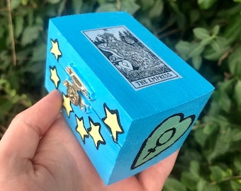 The Empress Hand Painted Trinket Box - wooden jewelry box, altar box, tarot cards, rider waite smith, occult decor, unique witchy gifts