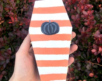 Hand Painted Coffin Box - wooden trinket box, jewelry box, gothic gifts, spooky, horror,  pastel Halloween decor, pumpkin, orange, stripes