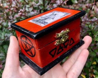 The Magician Hand Painted Trinket Box - wooden jewelry box, altar box, tarot cards, rider waite smith, occult, goth decor, witchy gifts