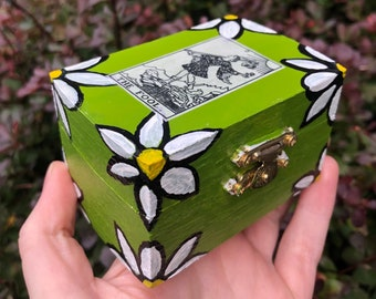 The Fool Hand Painted Trinket Box - wooden jewelry box, altar box, tarot cards, rider waite smith, flower power, daisy, unique witchy gifts