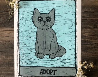 Adopt Don't Shop Tarot Cat Print - charity wall art (20% of profit will go to my local humane association) - handmade witchy lino print