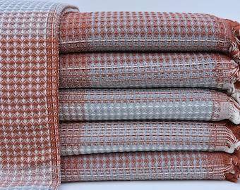 "Bed Cover, Turkish Blanket, Wedding Gift Blanket, Organic Cotton Blanket, Sofa Cover, Turkish Bedspread, 79""x86"" Throws, Bedspread B-107"