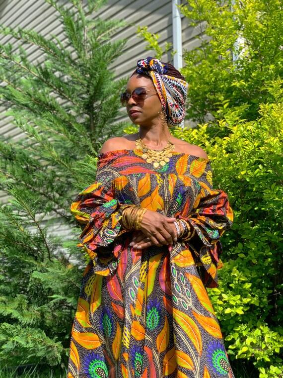 Gold Leaf Off-Shoulder Dutch Wax Dress