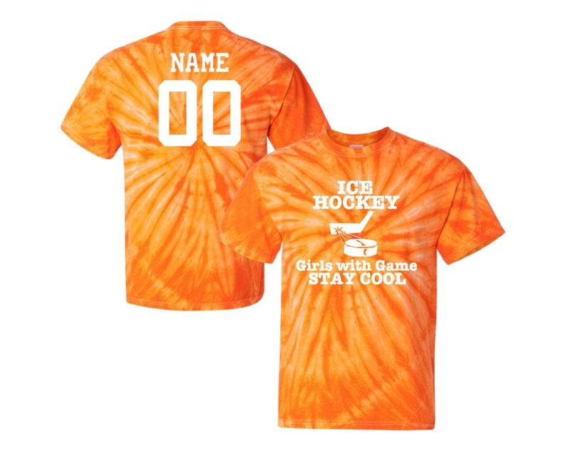 Customizable Ice Hockey Tie Dye T-Shirt Girls with Game Logo