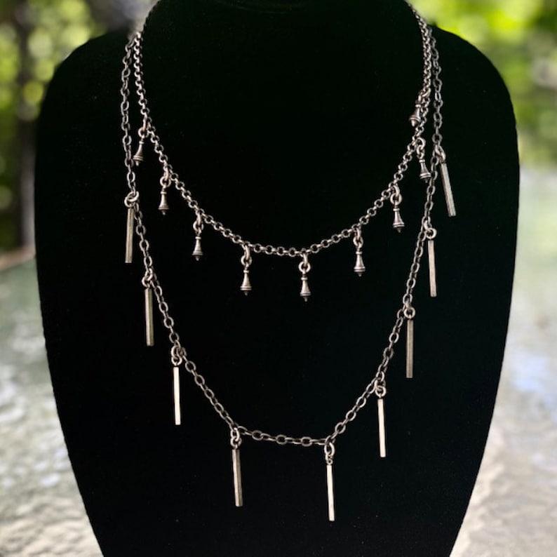 Rain Shower Silver Over Bronze Handmade Necklace by Lochlin