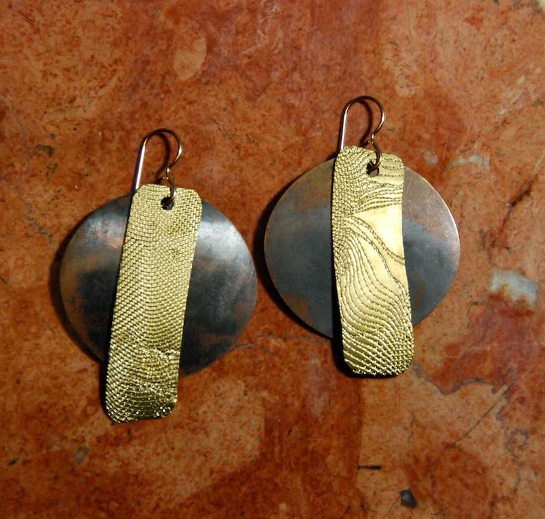 Lochlin Radiant Goddess Handmade Metal Earrings Bronze with image 0