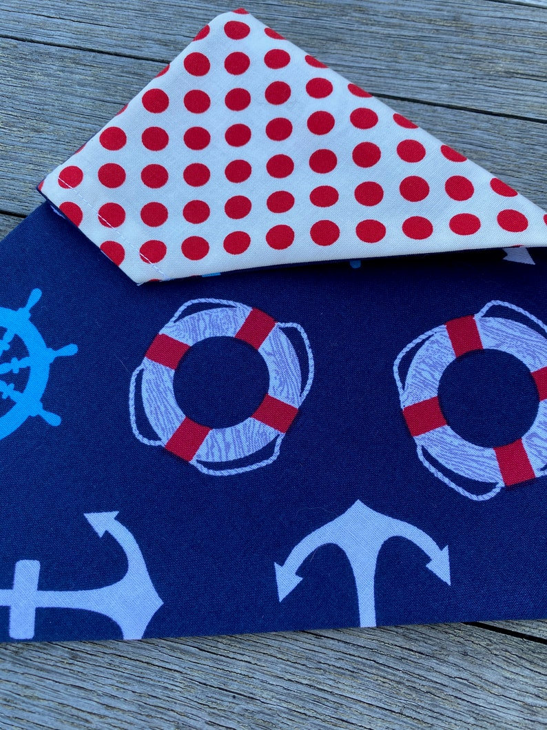 Reversible  Over the Collar  nautical /& red polka dots DOG bandana  Customizable