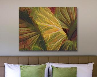 Canvas art print, archival wall art, stretched canvas print, abstract leaves art, abstract nature print, giclée, nature art, wall decor