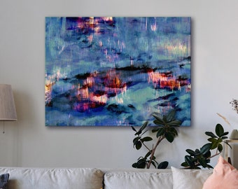 Canvas art print, archival wall art, stretched canvas print, fire and ice, evocative abstract, giclée, nature art, wall decor