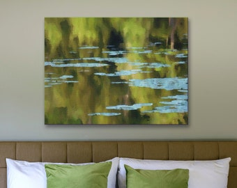 Canvas art print, archival wall art, stretched canvas print, pond, waterlilies, calming nature scene, giclée, nature art, wall decor