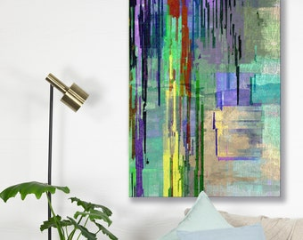Canvas art print, archival wall art, stretched canvas print, abstract, jewel colors, minimalist, giclée, colorful, wall decor