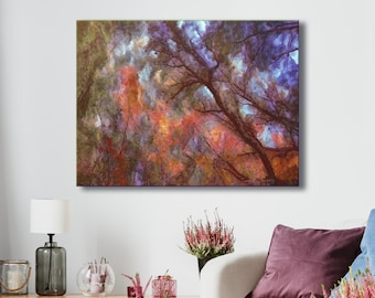 Canvas art print, archival wall art, stretched canvas print, autumn tree leaves, calming nature, giclée, nature art, wall decor