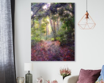Canvas art print, archival wall art, stretched canvas print, forest scene, calming nature, giclée, nature art, wall decor