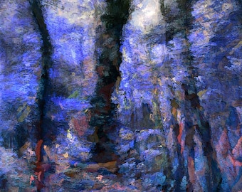 Impressionist, painterly, woods, twilight, nature, print, frame-ready physical art print, wall art