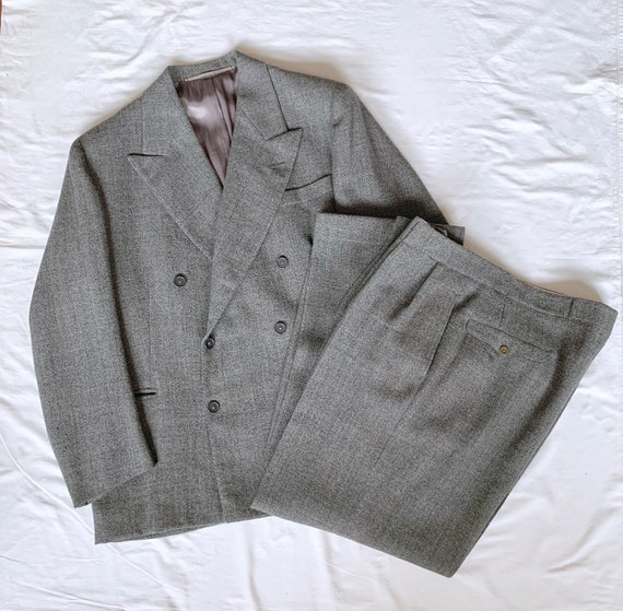 Suit, Double- breasted Jacket + Trousers, 1940s Vi