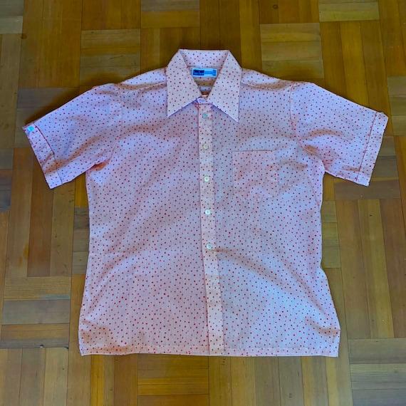 Vintage late 1960s 70/'s Garry Duncan psyche freakbeat dagger spearpoint collar fushia pink long sleeved shirt Large vgc