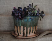 Wheel-thrown and Hand-glazed Planter Pot with Built-in Drainage Tray and Holes