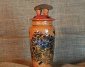 Wheel-thrown and Hand-altered, Decorated, and Glazed Ceramic Clay Orange Storage Jar Container Canister with Driftwood Handle on Lid