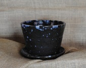 Wheel-thrown and Hand-glazed Planter with Speckled Pattern, Built-in Drainage Tray and Holes   Handmade Gift for Plant Lovers